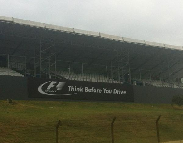 F1 Think Before You Drive Advert at 2012 F1 Brazillian Grand Prix