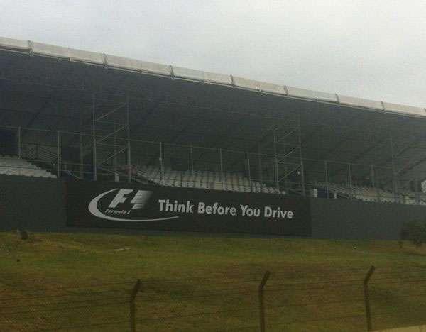 F1 Think Before You Drive Advert at 2012 F1 Brazillian Grand Prix