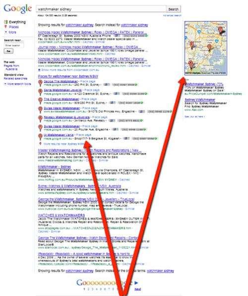 Exemplo de busca no Google Places