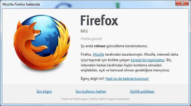 Mozilla Firefox v9.0.1 Final Türkçe (Win/Mac/Linux)