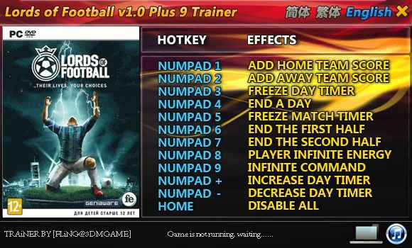 LORDS OF FOOTBALL +9 TRAINER [FLING]